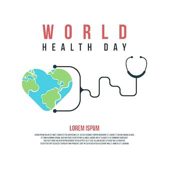 Ilustración y antecedentes del día mundial de la salud para celebrar el día mundial de la salud