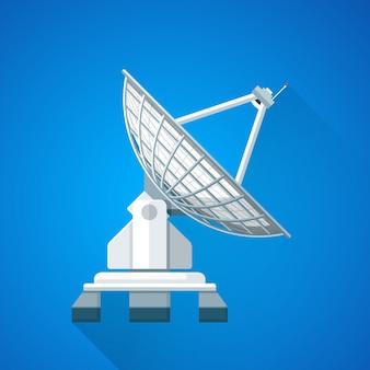 Ilustración de antena de plato de enlace ascendente de satélite colorido