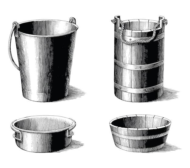 Ilustración antigua de la colección de balde vintage imágenes prediseñadas en blanco y negro sobre blanco
