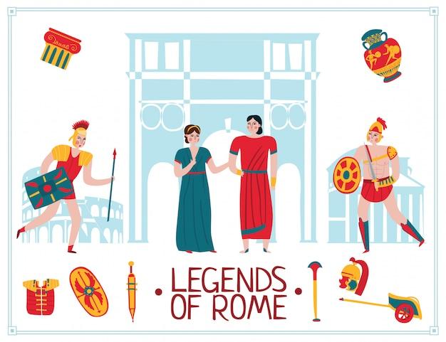 Ilustración del antiguo imperio de roma