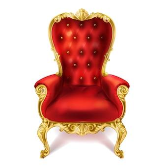 Ilustración de un antiguo trono real rojo.