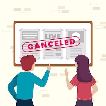 Ilustración de anuncio de eventos cancelados