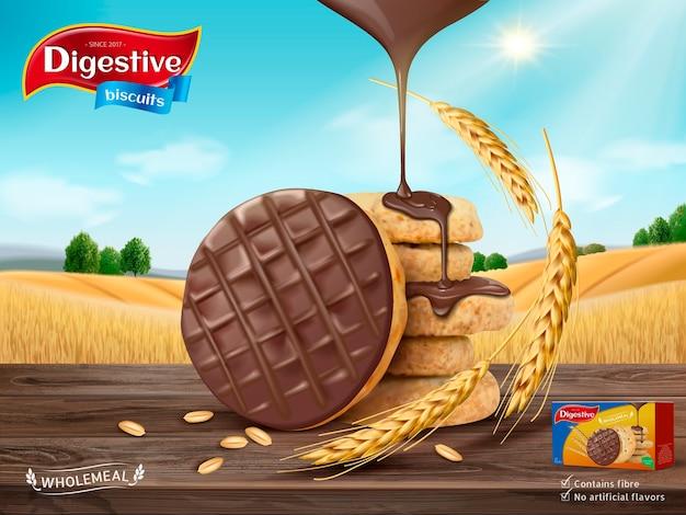 Ilustración de anuncio de galletas digestivas de chocolate