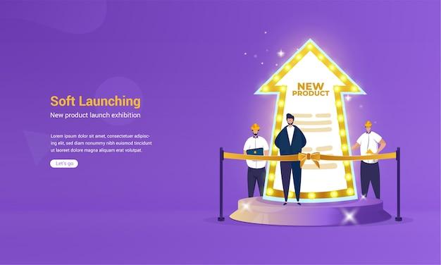 Ilustración del anuncio de lanzamiento suave para el nuevo concepto de producto