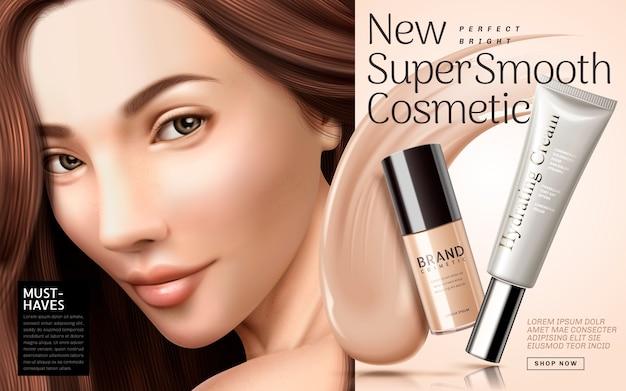 Ilustración de anuncios de base cosmética