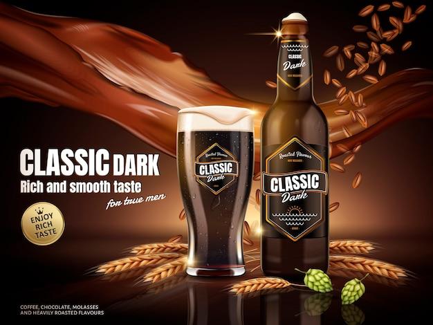 Ilustración de anuncios de cerveza oscura clásica