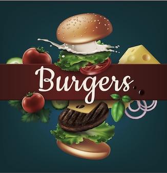Ilustración de anuncios de hamburguesas voladoras hamburguesa explotada