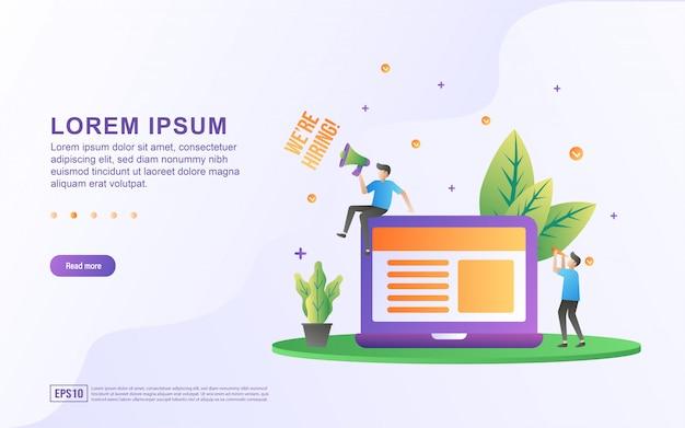 Ilustración de la apertura de empleos y contratación en línea con iconos de computadora portátil y megáfono