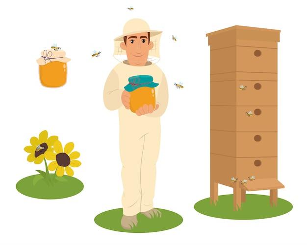 Ilustración de apicultor apiario