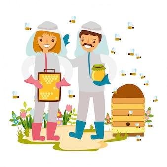 Ilustración de apicultores