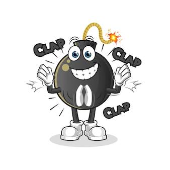 Ilustración de aplausos de bomba. personaje