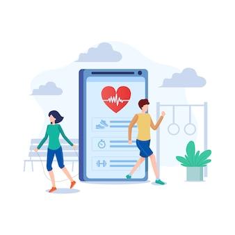 Ilustración de la aplicación de fitness en estilo plano