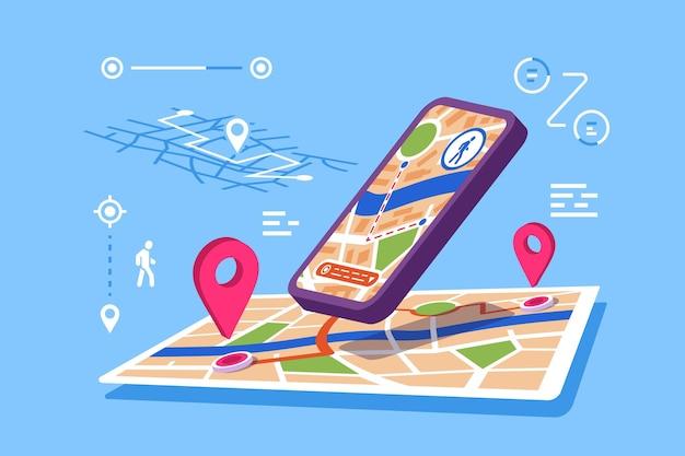 Ilustración de aplicación en línea de mapas de ubicación