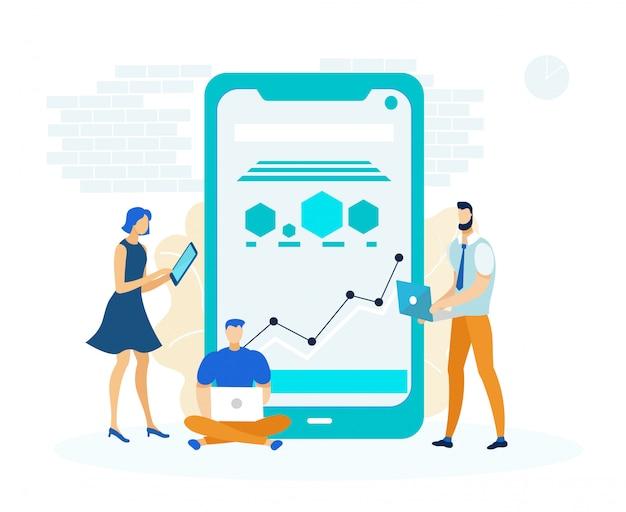 Ilustración de la aplicación de negocios de plataforma cruzada