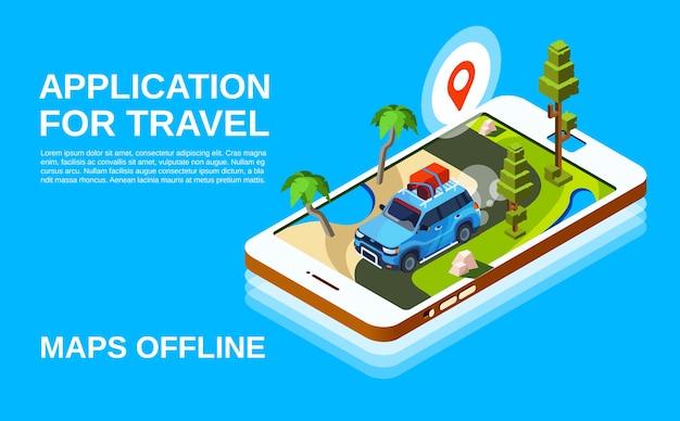 Ilustración de la aplicación de viaje del coche y hoja de ruta en la pantalla del teléfono inteligente.