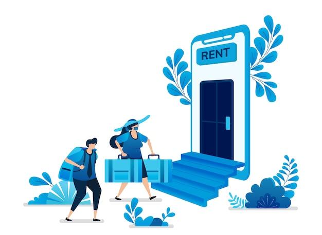 Ilustración de aplicaciones móviles de alquiler de viviendas y apartamentos.