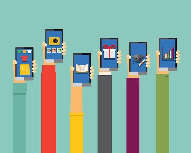 Ilustración de aplicaciones móviles en diseño plano, manos sosteniendo teléfonos inteligentes