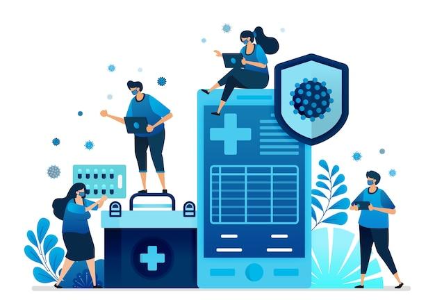 Ilustración de aplicaciones de servicios de salud hospitalaria.