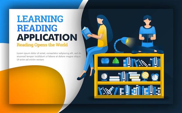 Ilustración del aprendizaje educativo de la lectura del diseño de la aplicación.
