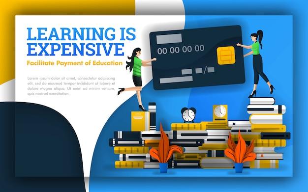 Ilustración de aprendizaje es cara con una tarjeta de crédito.