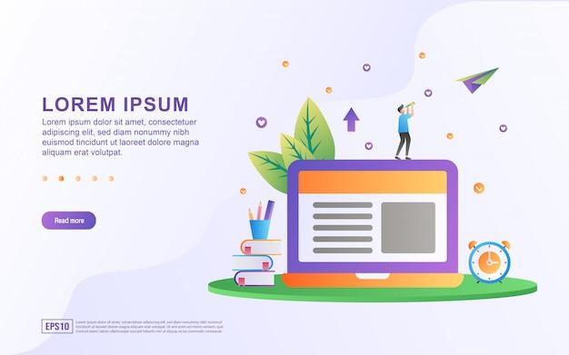Ilustración de aprendizaje en línea y lectura de artículos con icono de libro y portátil.