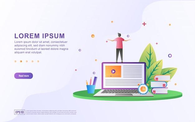 Ilustración de aprendizaje en línea y lectura de artículos con el libro y el icono de la computadora.
