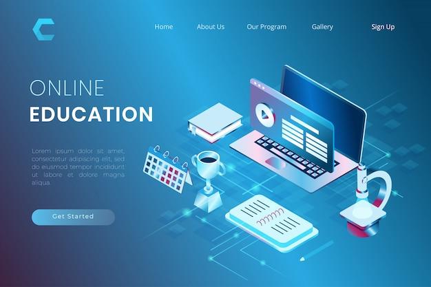 Ilustración del aprendizaje en línea para mejorar el rendimiento en estilo isométrico 3d