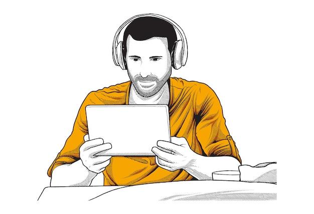 Ilustración de aprendizaje en línea