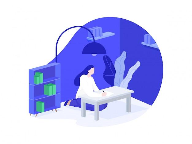 Ilustración de aprendizaje para el sitio web y aplicaciones
