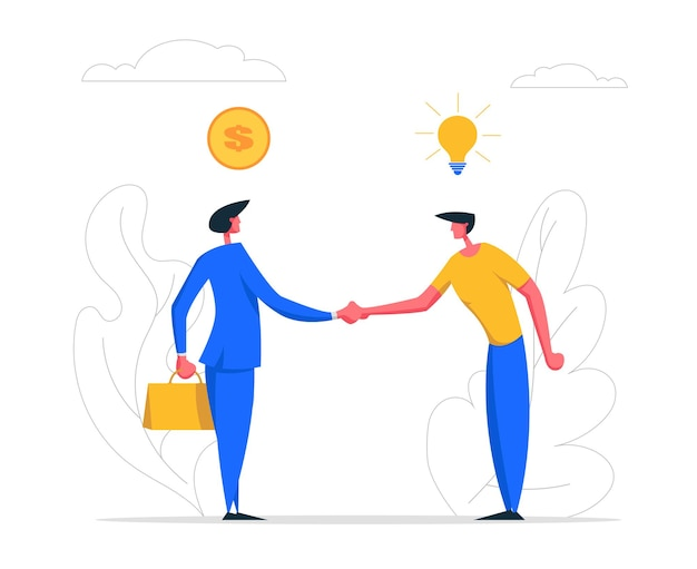 Ilustración de apretón de manos de dos empresarios