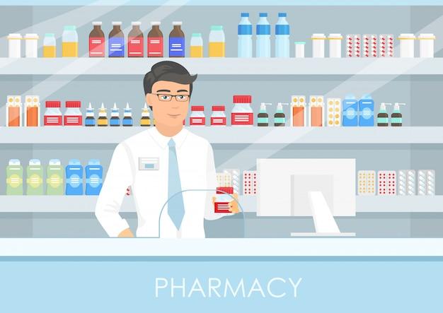 Ilustración de un apuesto farmacéutico masculino en un mostrador de farmacia. un farmacéutico, un estante de medicamentos, cápsulas y una botella de drogas. concepto médico pagado de atención médica.