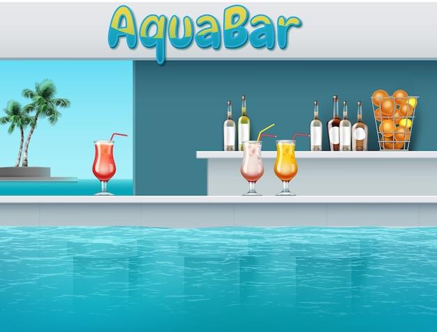 Ilustración de aqua bar con bebidas en una gran piscina en un parque acuático