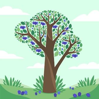 Ilustración de árbol de ciruelo plano