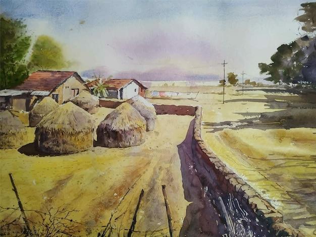 Ilustración de árbol dibujado a mano de pintura de paisaje de acuarela