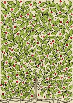 Ilustración con un árbol en flor.