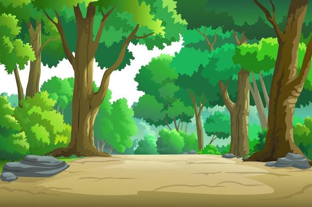 Ilustración de un árbol y gráfico de selva.