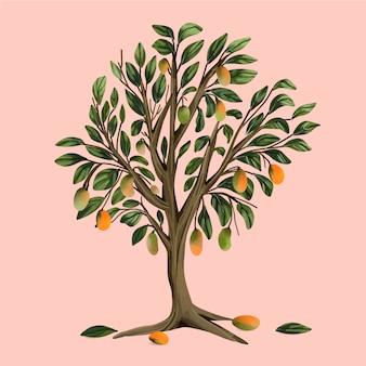 Ilustración de árbol de mango en acuarela