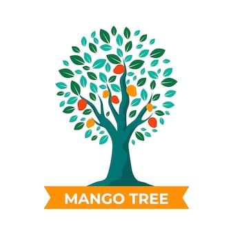 Ilustración de árbol de mango de diseño plano