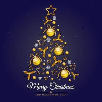 Ilustración del árbol de navidad hecho de decoración dorada realista