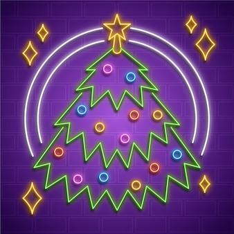 Ilustración de árbol de navidad de neón