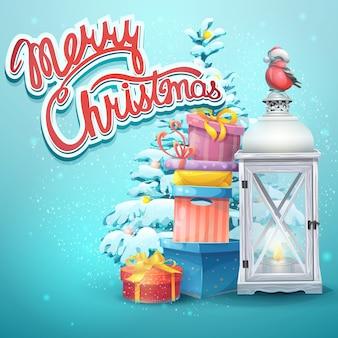 Ilustración con árbol de navidad, regalos, linterna, camachuelo