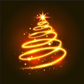 Ilustracion del arbol de navidad del sendero de luz