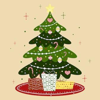 Ilustración del árbol de navidad de la vendimia
