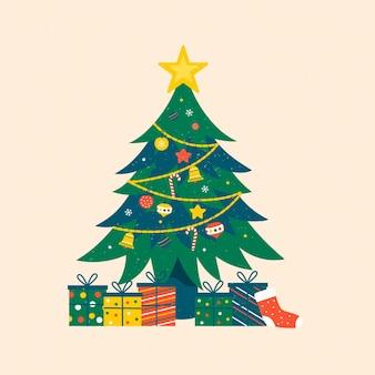 Ilustración de árbol de navidad vintage con estrella y regalos