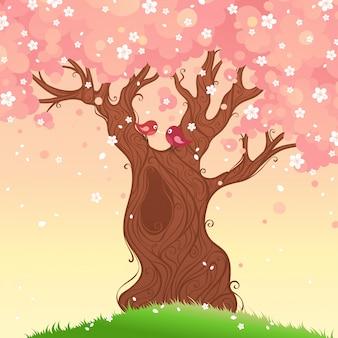 Ilustración de árbol de primavera