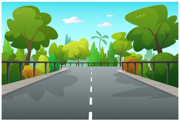 Ilustración de árboles y caminos.