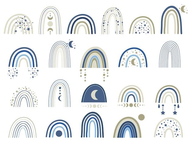 Ilustración de arco iris azul celeste.
