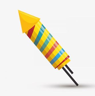 Ilustración de arco iris de fuegos artificiales de cohete