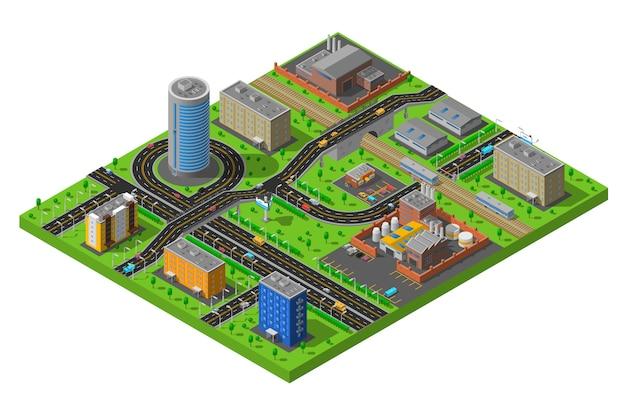 Ilustración del área industrial de la ciudad isométrica