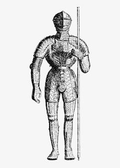 Ilustración de armadura caballero vintage